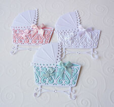 3 New Baby Cribs White Pink Blue  Die Cut Shapes Handmade Card Toppers