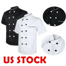 Men Woman Short Sleeve Chef Coat Jacket Kitchen Cooker Work Restaurant Uniforms
