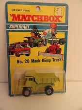 MATCHBOX LESNEY SUPERFAST #28a Mack Dump Truck  BPW 1971 Bister Pack