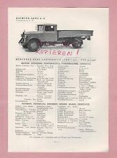GAGGENAU Typentafel 1934 Daimler-Benz AG Mercedes LKW L o 2500, LKW L o 2750