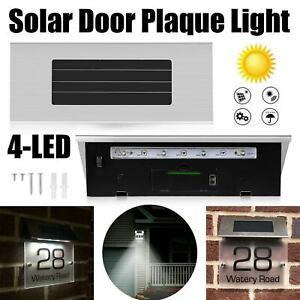 Solar Powered House Door Number 4LED Light Wall Plaque Doorplate Modern Lamp UK