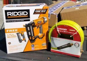 """NEW Ridgid 2 1/2"""" Straight Finish Nailer and 1-3/8"""" Pin Nailer and 50' air hose."""