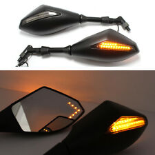 Motorcycle LED Turn Signal Side Mirrors For Honda Suzuki Kawasaki Ducati Yamaha