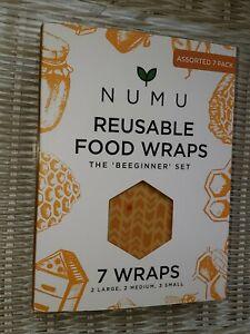 New! 7-Pack Numu Beeswax Organic Reusable Food Wraps, Assorted Set, Bee's Wax!