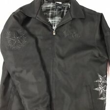 Black Zip Up Jacket Coat Stars Embroidered Skull So Cal Lined Large WARM