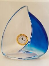 "BULOVA Hoya Crystal Sail Boat Quartz Desk Clock Blue & Clear Sales 8"" Tall"