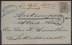 BELGIUM 1867 10c ON RAIL ROAD TPO PMK -12 ON ANVERS COVER TO SEKRETARIAAT