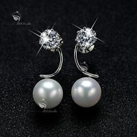 18k white gold made with SWAROVSKI crystal pearl stud earrings 925 silver pin