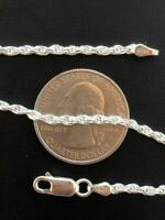 """Solid 925 Sterling Silver Rope Chain MADE IN ITALY Men's Women's 2.5mm 16-30"""""""