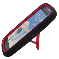 Samsung Galaxy S III 3 Impact Hard Rubber Case Phone Cover Kick Stand Black Red