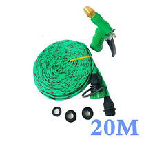 66FT Flat Garden Hose Pipe & Reel With Spray Nozzle Gun Outdoor Watering 20m AU