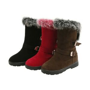Women Winter Boots Fur Lined Suede Round Toe Shoes Warm Buckle Booties Plus Size