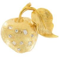 Vintage Apple Gold Tone Rhinestone Pin Brooch