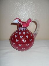 Fenton Opalescent Optic Heart Cranberry Glass Pitcher
