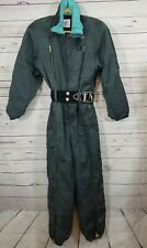 Vintage Belfe Snowsuit Women's Size 8 Green Ski Suit Belted Nylon Made it Italy