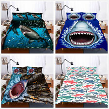 Furious Shark Fish Duvet Quilt Cover Bedding Set Pillowcase Single Double King