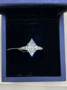 Italo Jewelry Woman's Three Stone Marquise White Sapphire Engagement Ring Size 6