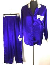Vintage Victorias Secret Gold Label Pajamas Set S Small Purple Satin Ivory Lace