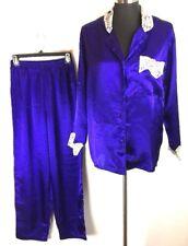 Vintage Victorias Secret Gold Label Pajamas Set S Small Purple Satin Ivory Lace
