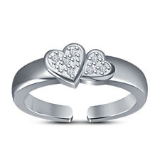 Toe Ring In 14K White Gold Fn 925 Silver Double Heart D/Vvs1 Diamonds Adjustable