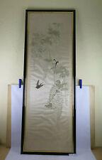 Stickerei Auf Seide Chinesisch Stoff Bestickt Vögel Floral Tiere Alt Old-Time X9
