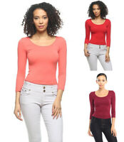 Women's Casual Stretch Fit Seamless T-Shirt Top 3/4 Sleeve Solids Plain Basic