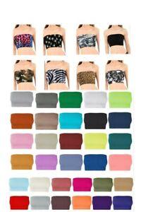 Ladies Plain Printed Boob Tube Strapless Bandeau Elastic Stretch Bra Crop Top