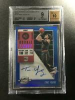 TRAE YOUNG 2018 PANINI CONTENDERS OPTIC BLUE #124 AUTO ROOKIE RC /99 BGS 9 10