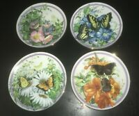 (4) Hamilton Collection BUTTERFLY GARDEN Paul J. Sweany Plates