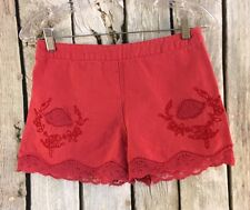 Free People High Waisted Shorts Red Floral Lace Applique Linen Blend Womens 2