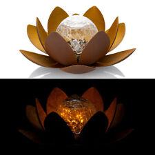 LED Solar Lotusblüte aus Metall mit Kugel und Lichterkette - Solarleuchte Garten