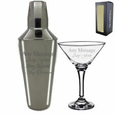 Personalised Engraved Cocktail Shaker with Strainer and Martini Glass