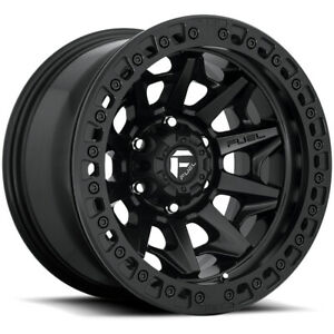 "Fuel D114 Covert Beadlock 17x9 6x5.5"" -15mm Matte Black Wheel Rim 17"" Inch"