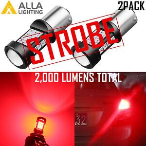 3497 LED Red Legal STROBE Brake Light Bulb Center High Third Stop Turn Signal
