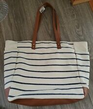 Bath and Body Works Summer Canvas Blue White Striped Tote Bag Nwt