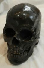 Distressed Bronze Sculpture of a Life-Size Human Skull