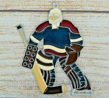 Vintage Suncatcher Hockey Goalie Window Decoration Ornament Red White & Blue USA