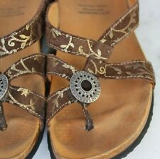 THINK  Julia Medallion Thongs, Brown Suede Gold Stamped Sandals EU 37 US 6 / 6.5