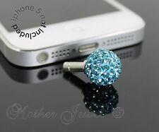 AQUA CRYSTAL BALL MOBILE PHONE IPHONE IPAD IPOD CHARM EARPHONE JACK DUST PLUG