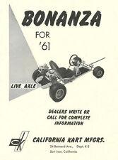 Vintage & Very Rare 1961 Bonanza Live Axle Go-Kart Ad