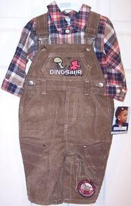 NWT Vitamins Kids Boy's Dinosaur Flannel Shirt + Corduroy Overalls Set, 6-9 Mos.