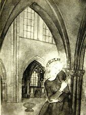 Sulamith Wulfing 1932 YOUNG GIRL w HALO under ARCHES oF CHURCH Art Print Matted