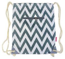 Chevron Cotton Drawstring Backpack Cinch Sack Gym Sak Women Stripes Large Kids