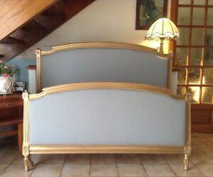 FRENCH DOUBLE BED FRAME - VINTAGE HENRI - GOLD FRAME - LINWOOD FABRIC