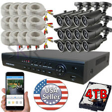 Sikker 16 Ch Channel DVR 12 pcs 1080P AHD 2 Megapixel Camera Security System 4TB