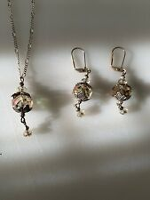 Aurora Borealis Crystal Necklace & Earrings SET Multi Color  Silver Tone