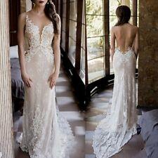 Sheath Lace Applique Mermaid Wedding Dress Summer Beach Backless Bridal Gown New