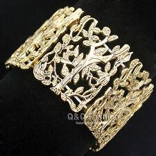 Greek Gold Tree Life Branch Leaf Twig Stretch Wide Toga Bracelet Bangle Cuff H8