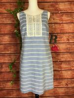 Talbots Tunic Sundress Dress size 6 Blue White Striped Lace Boho Beach Straight