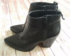 Vince Camuto Amori Black Snake Print Leather Ankle Bootie Women Size 6.5 a11